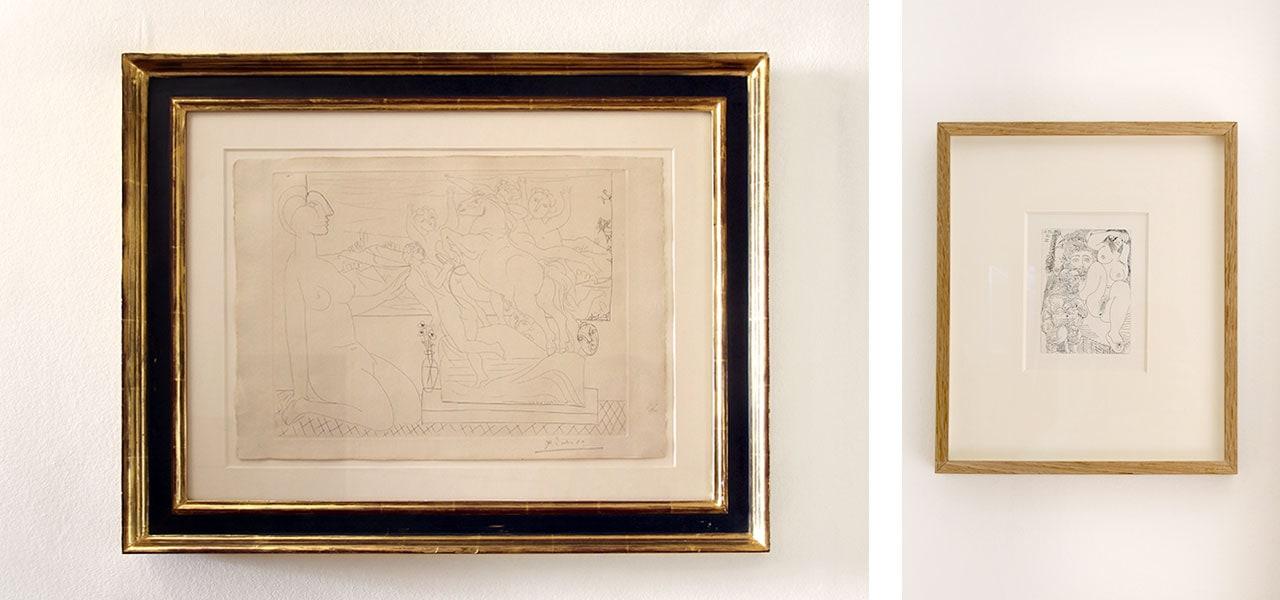 On the left Pablo Picasso, Marie-Thérèse Kneeling, Vollard Suite and on the right Pablo Picasso, Jeune Courtisane avec un Gentilhomme: La Célestine, 1968