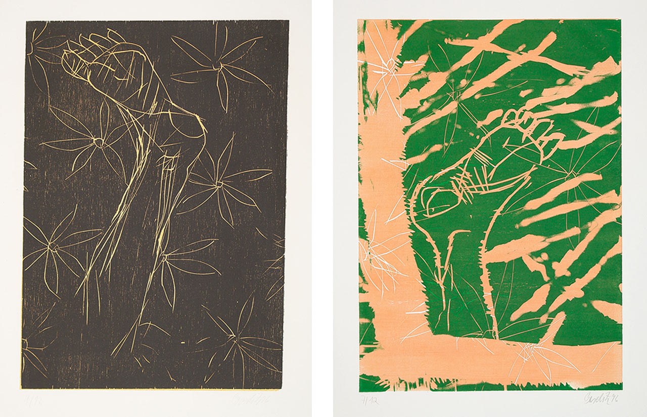 On the left Georg Baselitz, Normalfuss I, 1996 and on the right Georg Baselitz, Auch Fuß, 1996