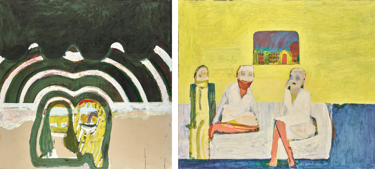 Left: Howard Hodgkin, Travelling, 1961, Estimate: £150,000-250,000. Right: Howard Hodgkin, Bedroom, 1960-61, £250,000–350,000
