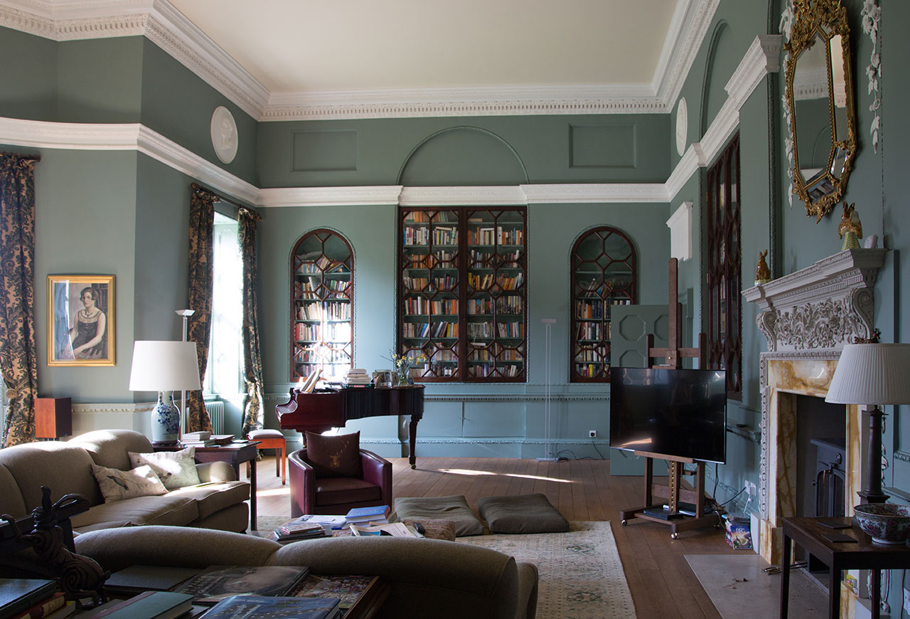 The library of James and Carol's Staffordshire home