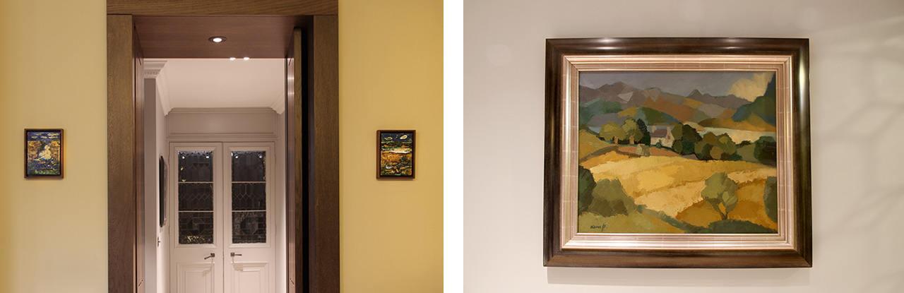 On the left two small paintings on Bingo cards by John Walker and on the right Border landscape by Dennis Peploe, son of the great Scottish colourist Samual Peploe