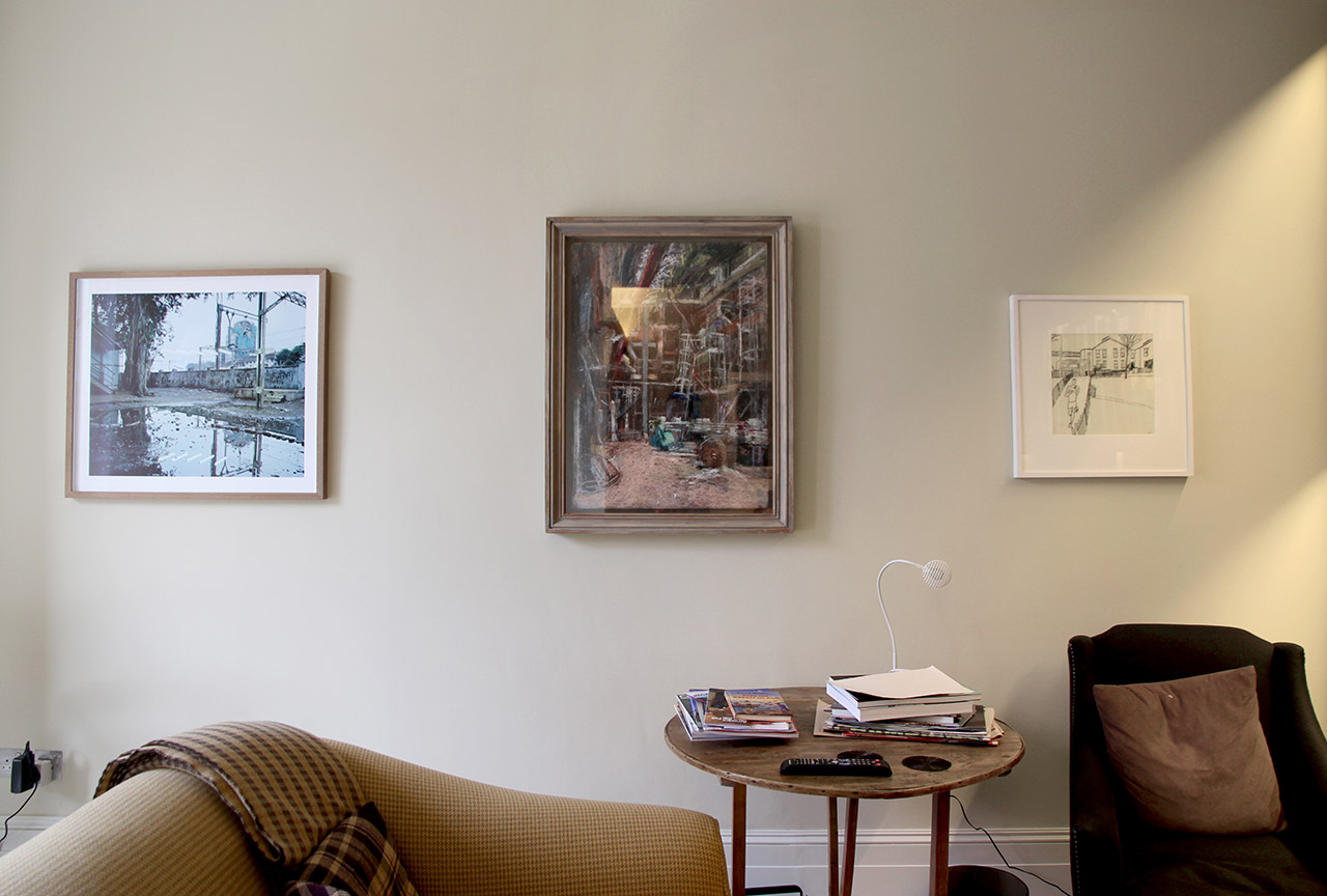 A photograph by Max Pinckers, charcoal drawing by Anthony Eyton and drawing by Amanda Vesey