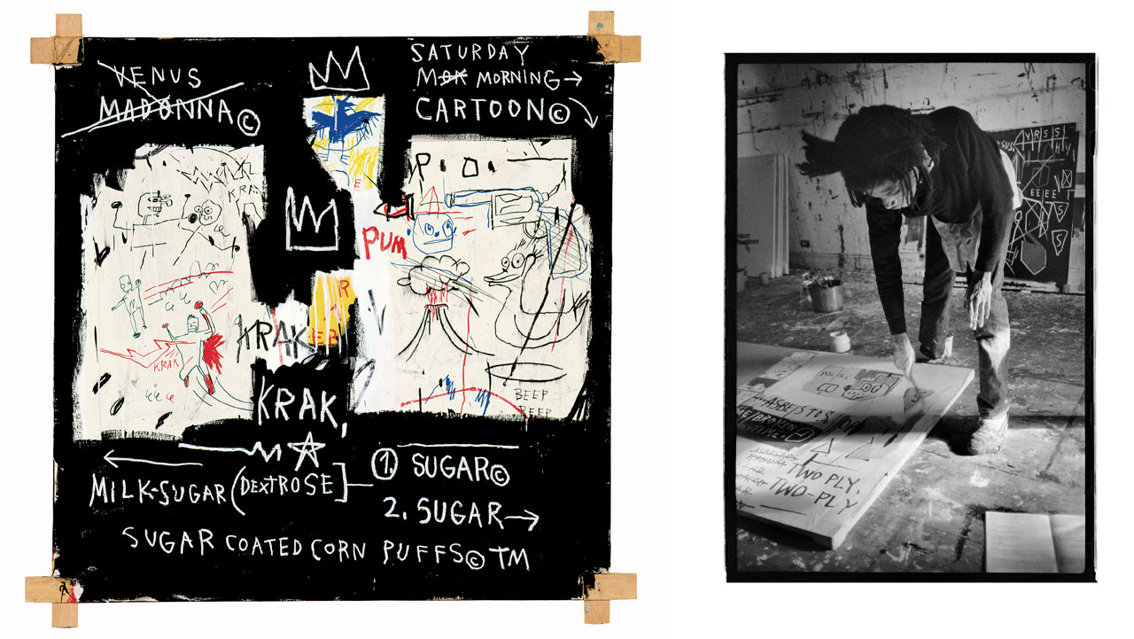 On the left Jean-Michel Basquiat, A Panel of Experts and on the right Jean-Michel Basquiat dancing at the Mudd Club, by Nicholas Taylor