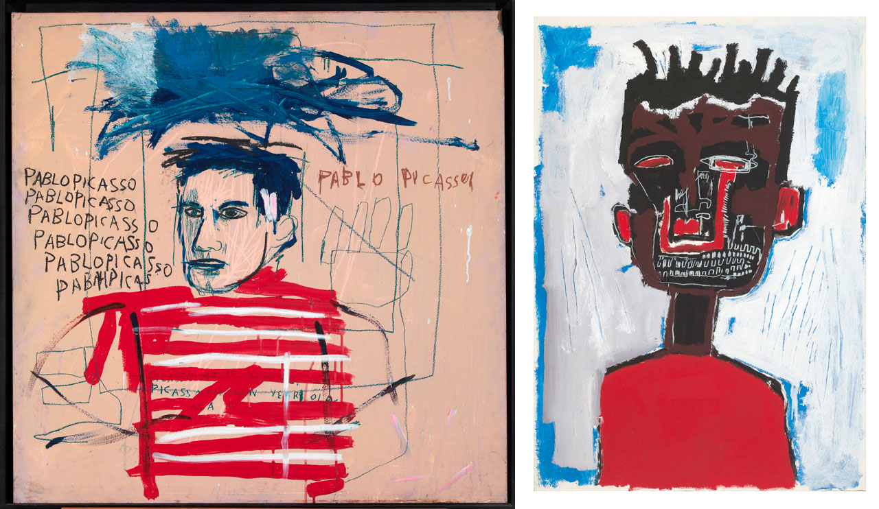 On the left Jean-Michel Basquiat, Untitled (Pablo Picasso) and on the right Jean-Michel Basquiat, Self Portrait