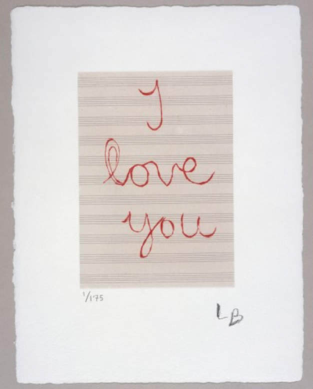 Louise Bourgeois, I Love You, 2007, drypoint in red ink on music paper