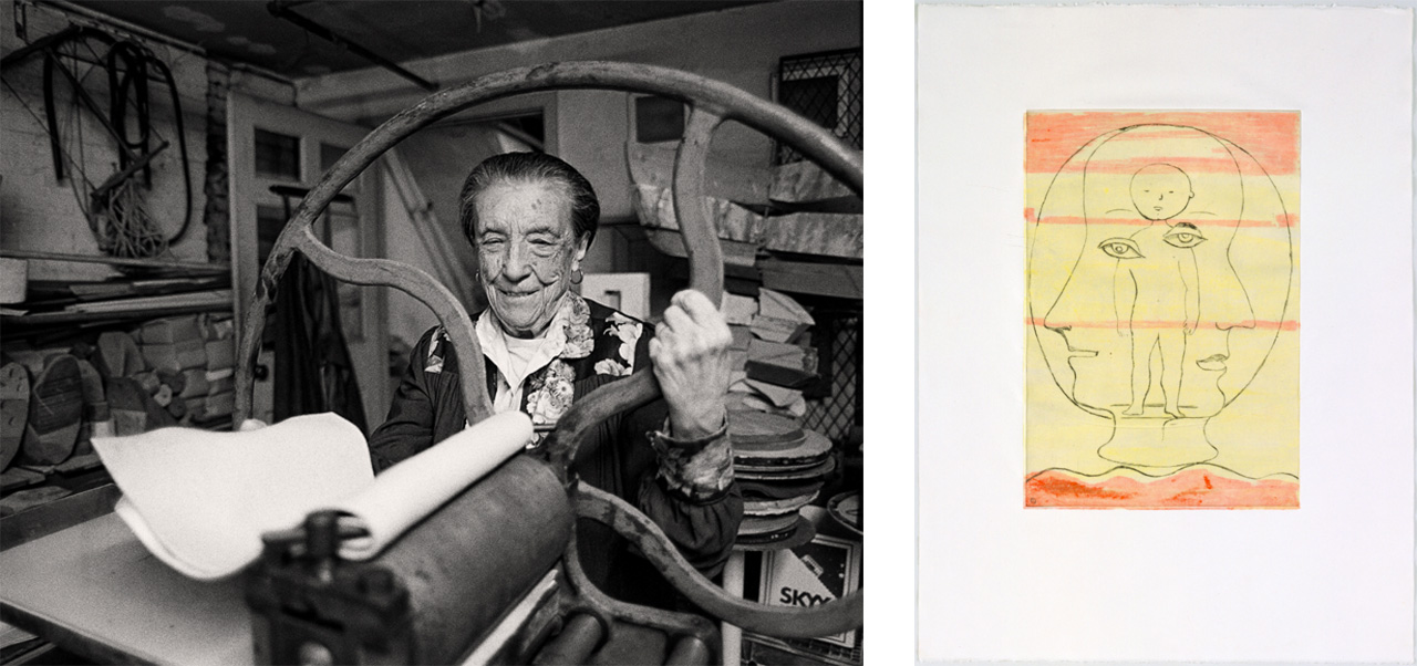 On the left Louise Bourgeois at the printing press in the lower level of her home/studio on 20th Street, New York, 1995 and on the right Self Portrait, 1990