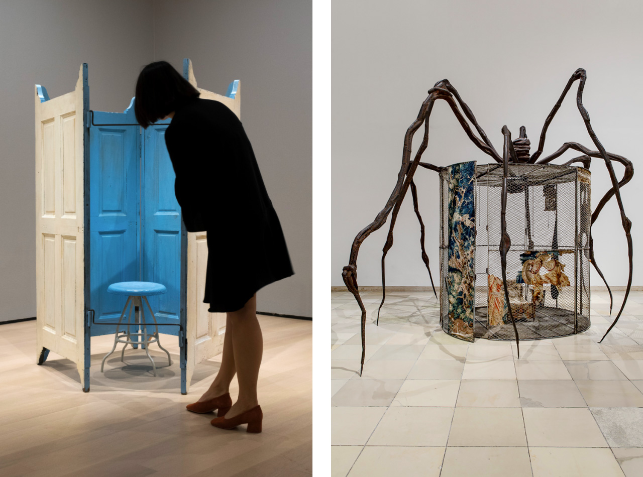On the left an installation view of Louise Bourgeois: An Unfolding Portrait, The Museum of Modern Art, New York and on the right Spider, 1997