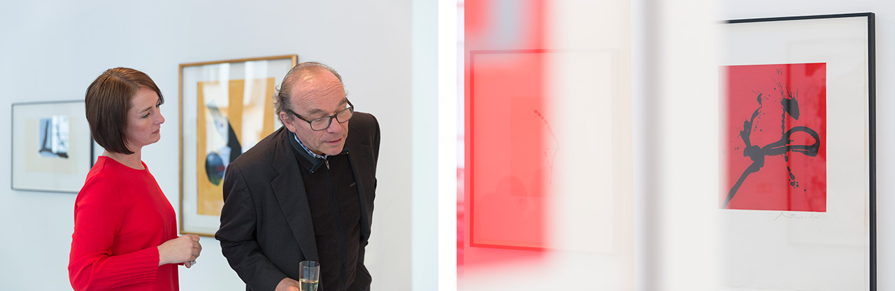 On the left the curator of the exhibition Constance Aehlig and Parkett co-founder Dieter von Graffenried and on the right a work by Robert Motherwell