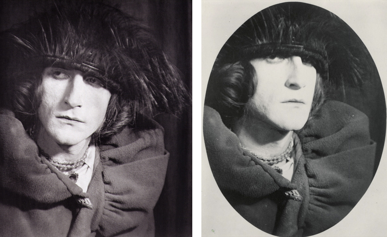 On the left Man Ray, Portrait of Rrose Sélavy, 1921 and on the right Man Ray, Portrait of Rrose Sélavy