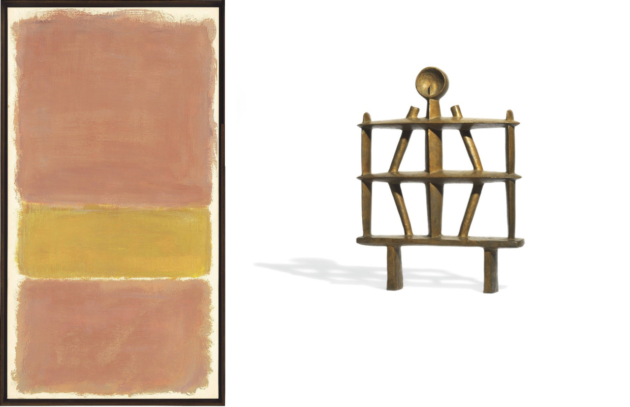On the left Mark Rothko, Untitled (Orange and Yellow) and on the right Alberto Giacometti, Homme (Apollon)