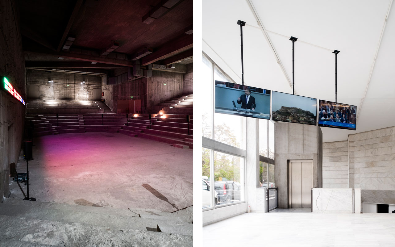 On the left Emeka Ogboh, The Way Earthly Things Are Going, 2017, Installation view, and on the right David Lamelas, Time as Activity: Live Athens–Berlin, 2017, Digital Live-Videostream