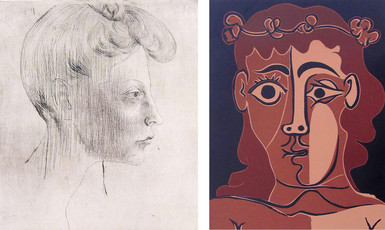 On the left Pablo Picasso, Head of Woman, In Profile / Tête de femme, de profil, 1905 and on the right Pablo Picasso Boy with a Crown of Leaves, 1962. Available to buy now on fineartmultiple