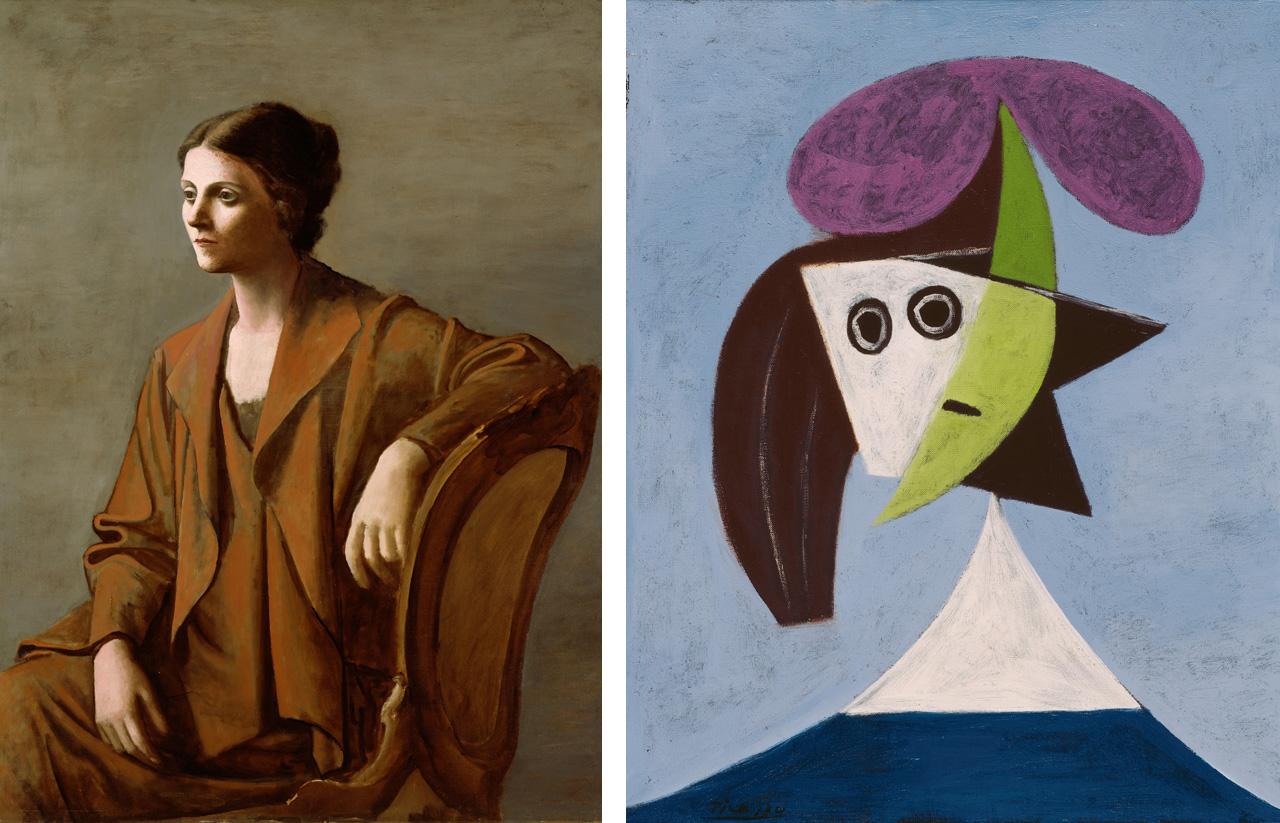 On the left, Pablo Picasso, Portrait of Olga Picasso, 1923 and on the right Pablo Picasso, Woman in a Hat (Olga), 1935