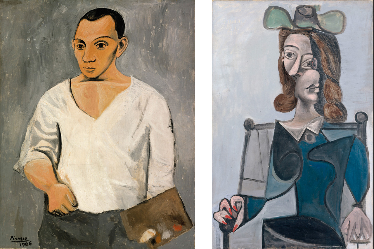 On the left Pablo Picasso, Self-Portrait with Palette, 1906 and on the right Pablo Picasso, Woman in a Hat, 1941