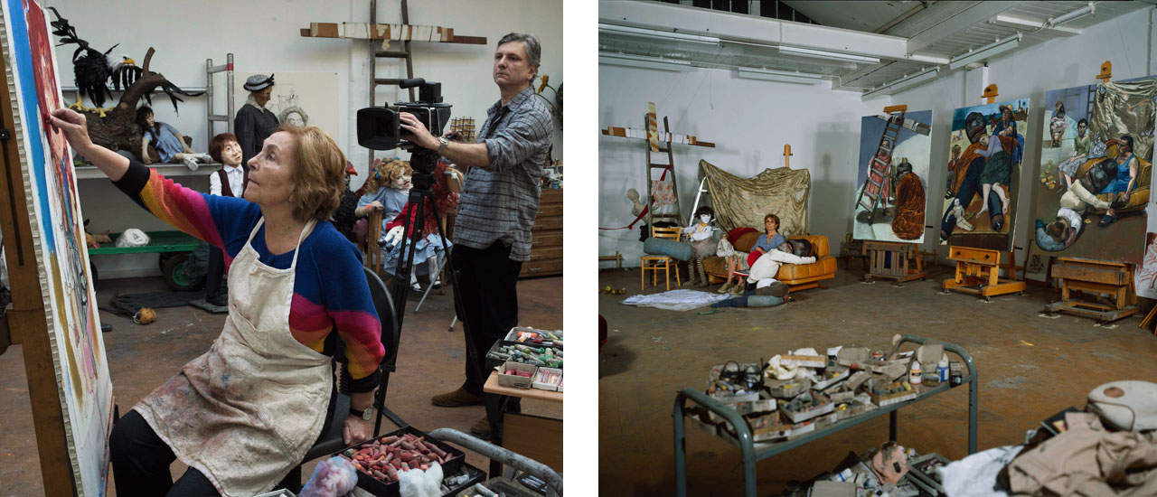 On the left Nick Willing filming Paula Rego in the Studio, and on the right Paula Rego in the Studio with The Pillow Man Triptych