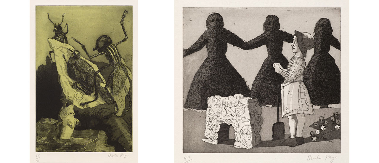 On the left Paula Rego, Who killed Cock Robin? I and on the right Mary, Mary, Quite Contrary II, 1989