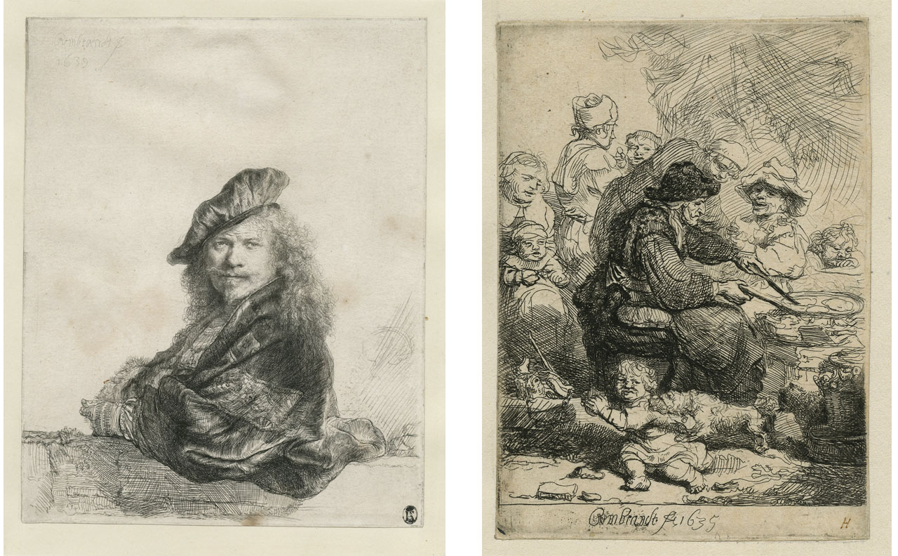 On the left Rembrandt Harmenszoon van Rijn, Self-portrait Leaning on a Stone-sill (II/II), and on the right he Pancake Woman (II/ VII), 1635, Etching on paper