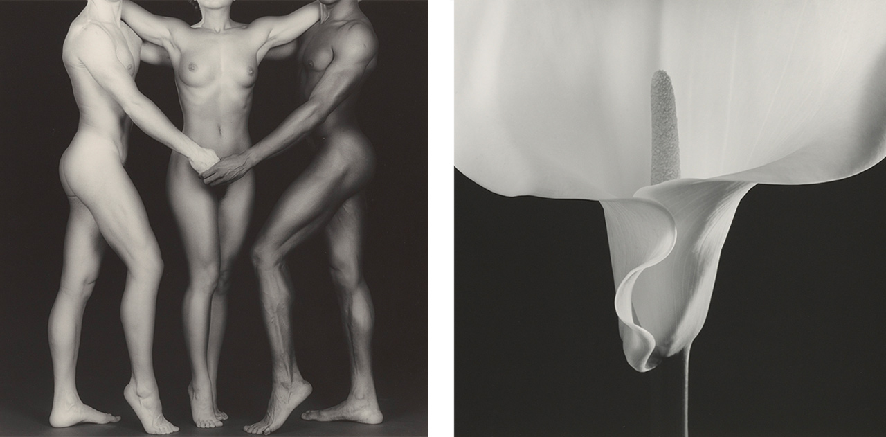 On the left Robert Mapplethorpe, Ken and Lydia and Tyler, 1985 and on the right Robert Mapplethorpe, Calla Lily, 1988