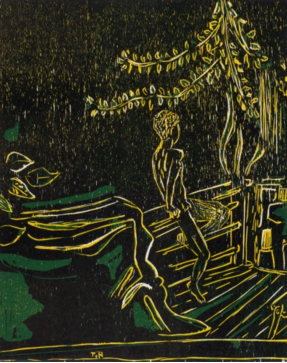 Tal R, Boy on Balcony, 2013, woodcut
