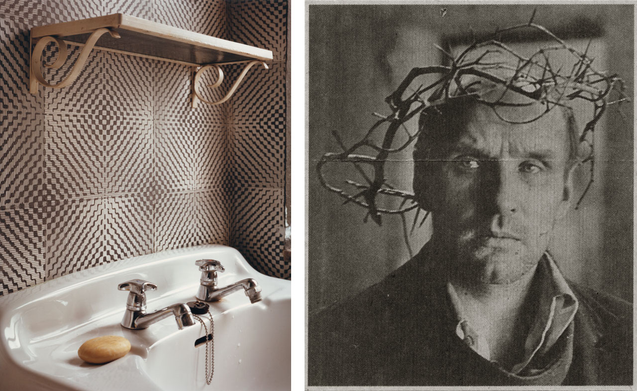 On the left Thomas Ruff, Interieur 1A (Interior 1A), 1979, and on the right Zeitungsfoto 101 (Newspaper Photograph 101), 1990, C-print