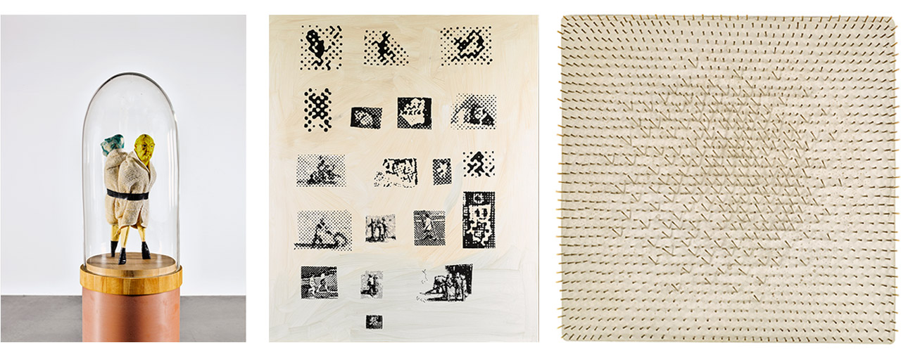 On the left Thomas Schütte, United Between Brackets, United Enemies, 1954 in the middle Sigmar Polke, Druckfehler, 2000 and on the right Günther Uecker, Nagelobjekt, 1958