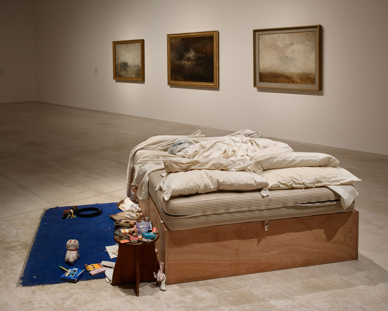 Installation view of Tracey Emin My Bed/JMW Turner at Turner Contemporary, Margate