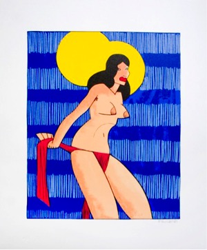 Kenneth Price, <em>Untitled (Topless Bikini)</em>, 1981, color serigraph, 36.8 x 31.4 cm (14.5 x 12.3 in),  Edition of 35. Image: Courtesy of Brooke Alexander