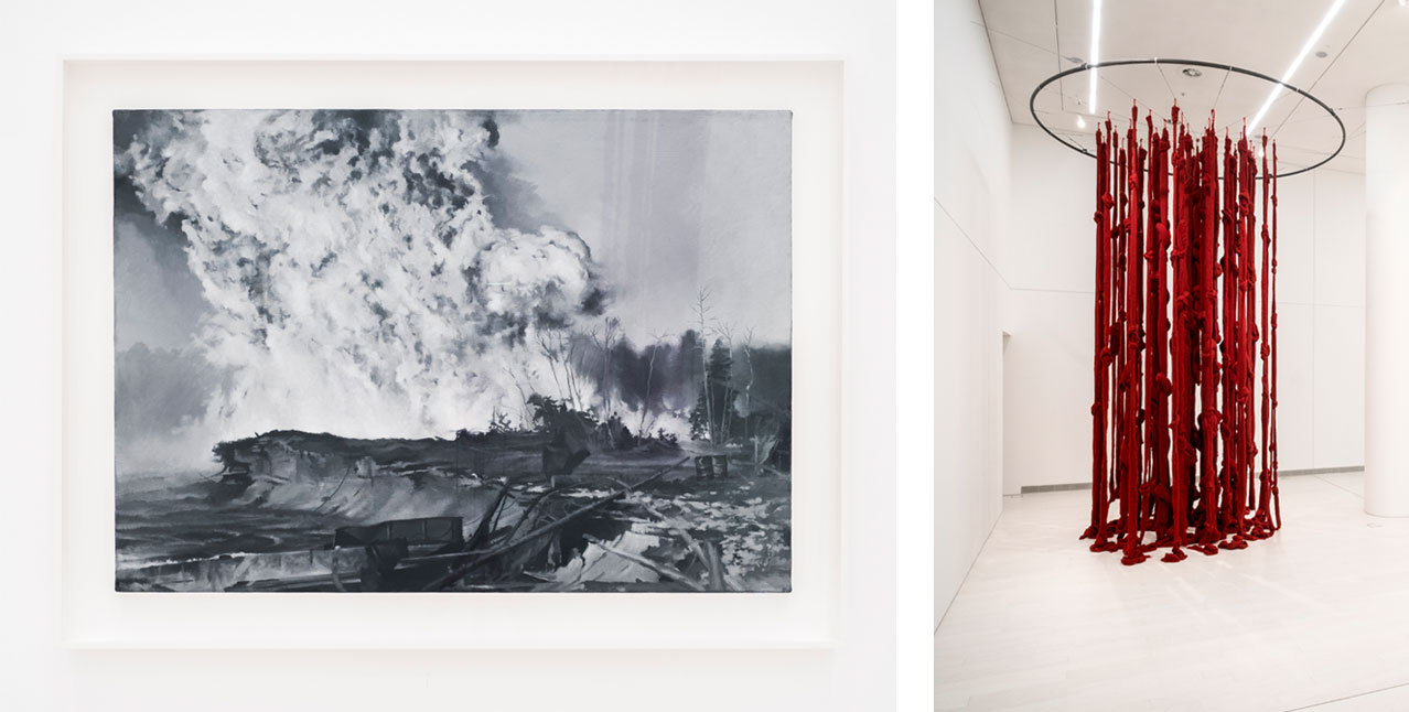 On the left Vija Celmins, Forest Fire, 1965–1966 and on the right Cecilia Vicuña, Quipu Womb (The Story of the Red Thread, Athens), 2017, Installation view