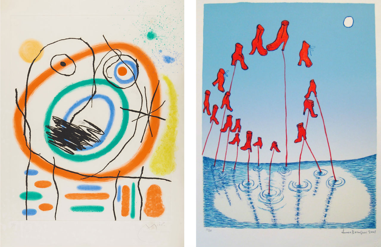 Left: Joan Miró, Le Prophète encerclé, 1965. Courtesy of Fils Fine Art, available to buy on fineartmultiple. Right: Louise Bourgeois, The Night, 2001. Courtesy of Marlborough Graphics, available to buy on fineartmultiple