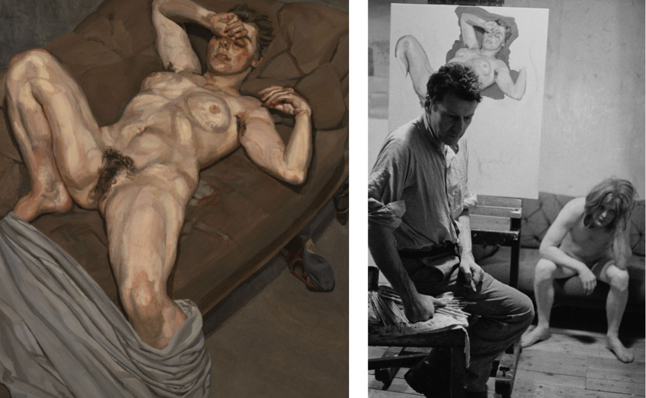 Left: Lucian Freud. Rose, 1977-78 (detail) © The Lucian Freud Archive / Bridgeman Images. Right: In the studio 13 © Rose Boyt © The Lucian Freud Archive / Bridgeman Images