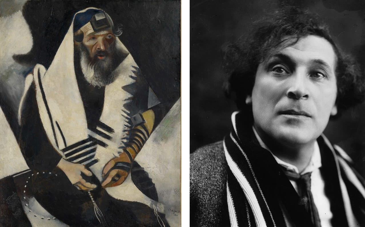 Left: Marc Chagall, Jew in Black and White  (Le juif en noir et blanc), 1914. Courtesy of the Im Obersteg Collectionand Kunstmuseum Basel. © Marc Chagall, Vegap, Bilbao, 2018. Right: Marc Chagall in the 1920s. Photo: via Wikimedia Commons