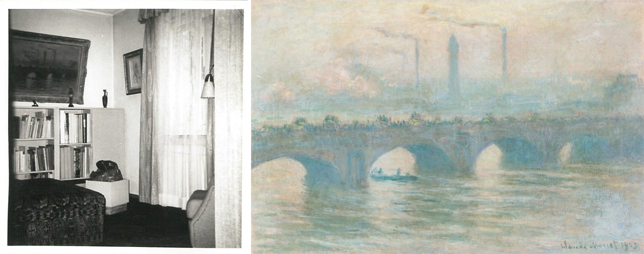 On the left Historical shot from Cornelius Gurlitt's house in Salzburg and on the right Claude Monet, Waterloo Bridge and Pablo Picasso, Still life with glass and fruits and on the right Claude Monet, Waterloo Bridge, 1903