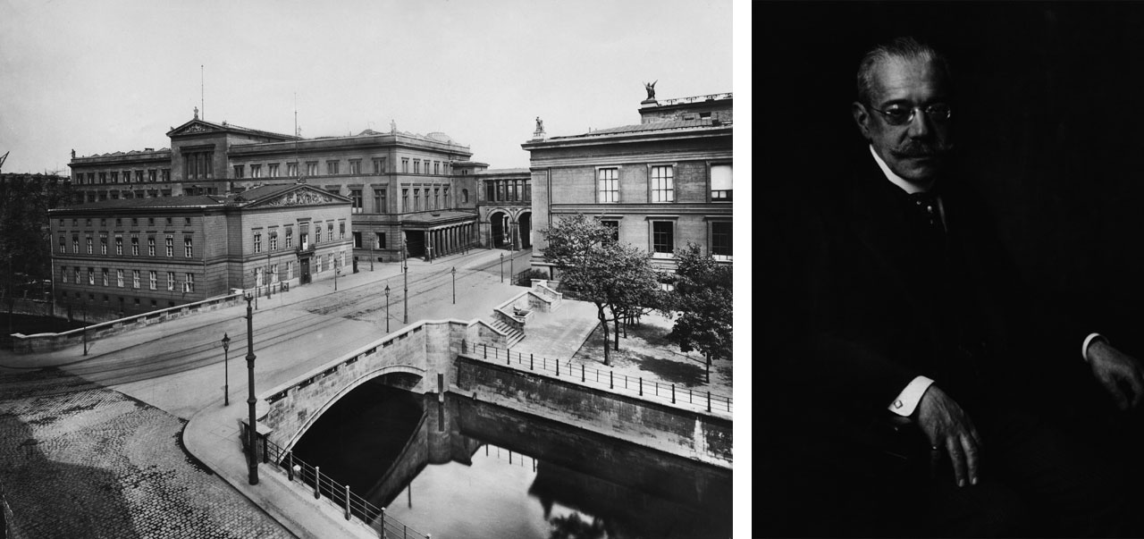 View towards Packhof and Neues Museum, 1919, © bpk / Meßbildarchiv. Right: James Simon. Image: via Wikimedia Commons