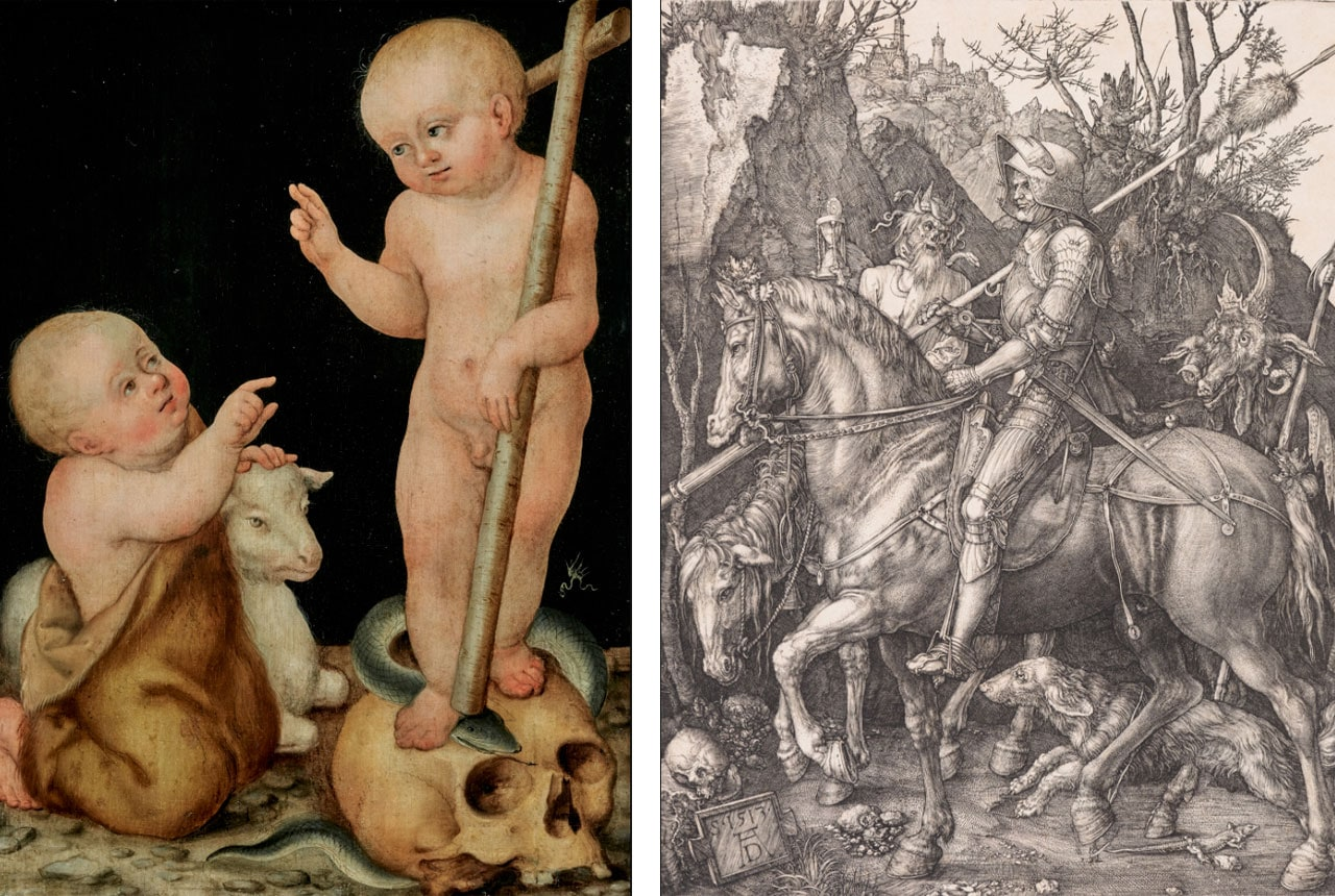 On the left Lucas Cranach der Jüngere, The Christ Child with the Infant Saint John the Baptist, 1540 and on the right Albrecht Dürer, Knight, Death and Devil. Copperplate engraving on laid paper. Kunstmuseum Bern, Bequest of Cornelius Gurlitt