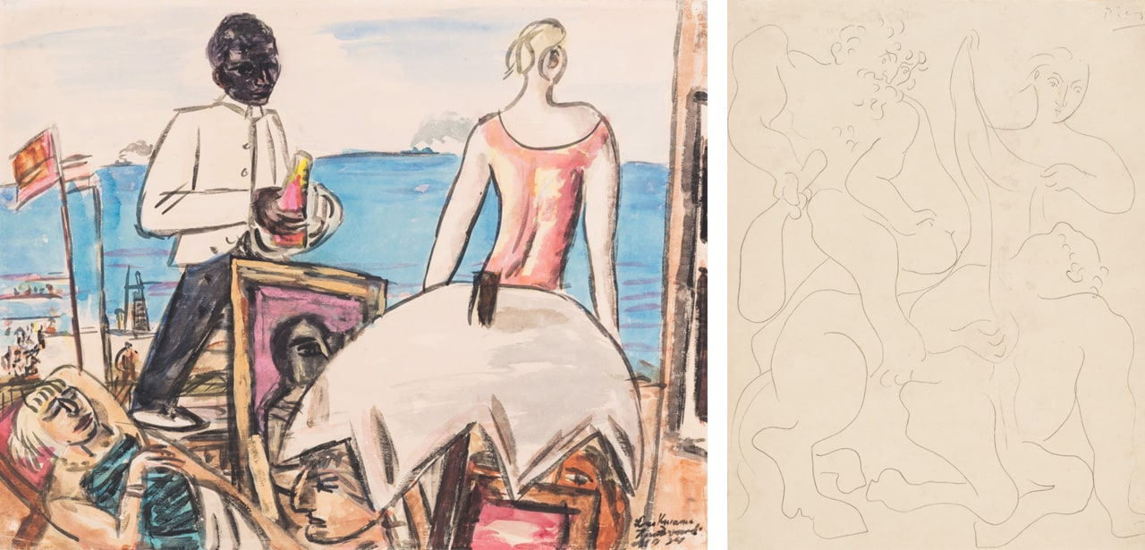 On the left Max Beckmann, Zandvoort Seaside Café, 1934 and on the right Pablo Picasso, Hercules Kills the Centaur Nessos, 1930
