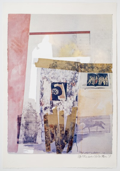 Robert Rauschenberg, Watermark, 1973, Color photo screen print with varnish, 90.2 x 61.6 cm (35.5 x 24.2 in), Edition of 200.  Image: Courtesy of Gemini G.E.L, Los Angeles