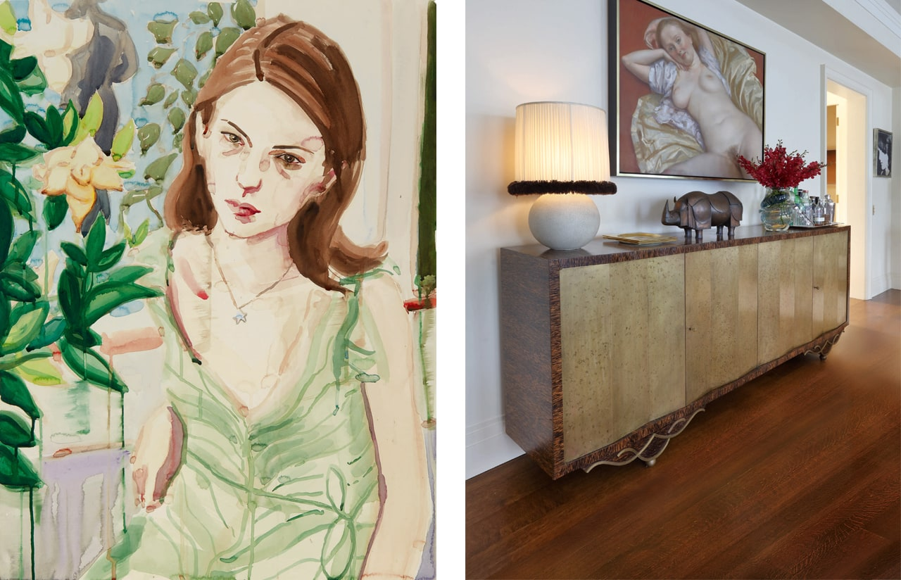 Marc Jacobs apartment lef5 Elizabeth Peyton work of Sofia Coppola and on the right a John Currin work. Image: Courtesy of Sotheby's
