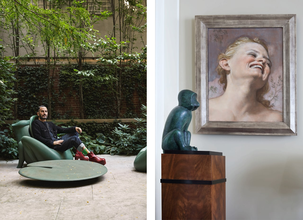 Marc Jacobs and on the right a work by John Currin. Image: Courtesy of Sotheby's