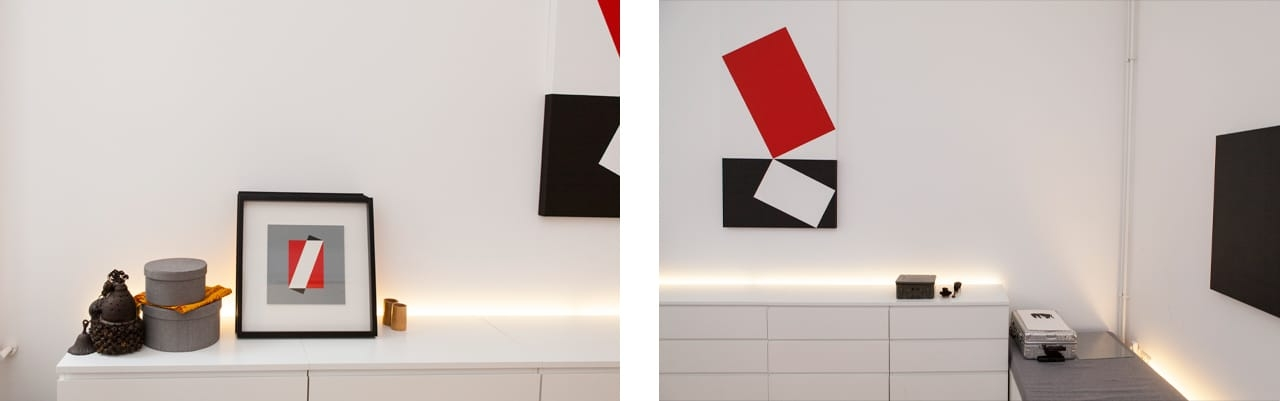 On the left: Lars-Gunnar Nordström Variation II/IV by Edition Partanen, 1988. On the right: Jo Niemeyer's Acryl on canvas Ohne Title, 1990. Images: © Juliane Spaete