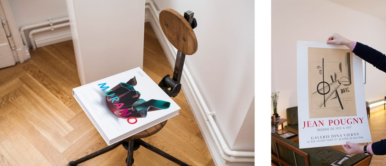 On the left: A 1930s workshop chair. On the right: An affiche by Mourlot Studios advertising a Constructivist exhibition with Ivan Puni. Images: © Juliane Spaete