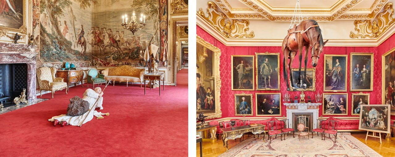 Left: Installation view, La Nona Ora, 1999, Victory is Not an Option, Maurizio Cattelan at Blenheim Palace, 2019. Image: © Tom Lindboe. Courtesy of Blenheim Art Foundation. Right:Installation view, Novecento, Victory is Not an Option, Maurizio Cattelan at Blenheim Palace, 2019. Courtesy of Blenheim Art Foundation