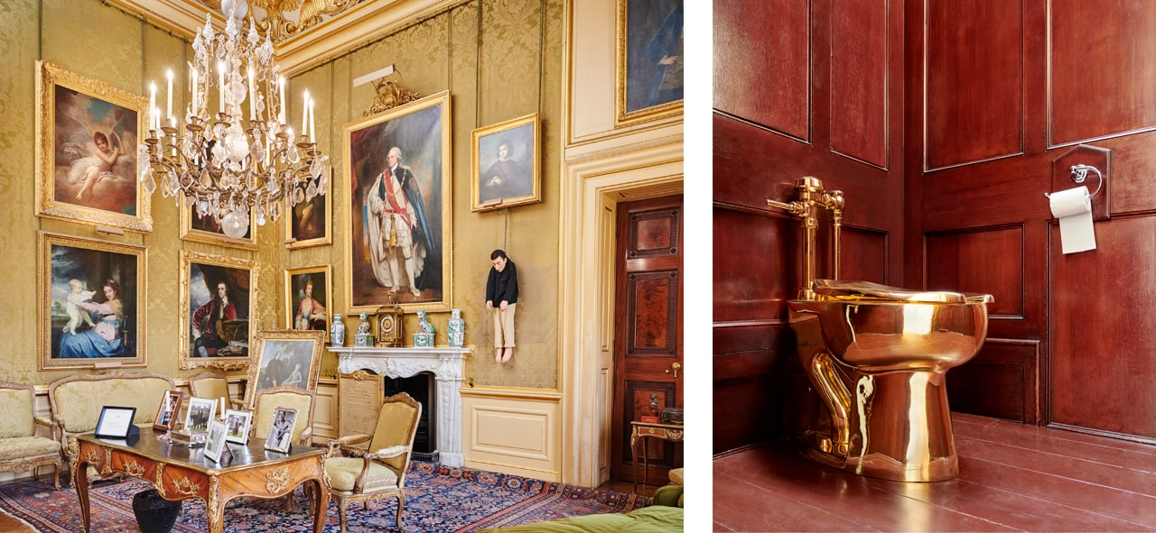 Left: Installation view, Untitled, 2000, Victory is Not an Option, Maurizio Cattelan at Blenheim Palace, 2019. Image: © Tom Lindboe. Courtesy of Blenheim Art Foundation. Right: Installation view, America, 2016, Victory is Not an Option, Maurizio Cattelan at Blenheim Palace, 2019. Image: © Tom Lindboe. Courtesy of Blenheim Art Foundation