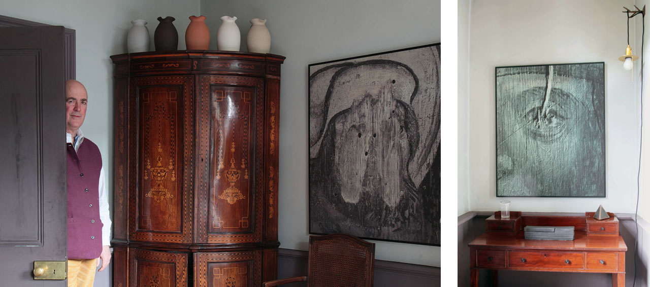 On the left Charles in front of seventeenth-century corner cupboard and ceramics by Nicola Tassie and on the right a 1930s desk by Arthur Livingstone Savage with sculptures by Conrad Shawcross RA and Ferdinand Saumarez Smith and glass work by Jochen Holz