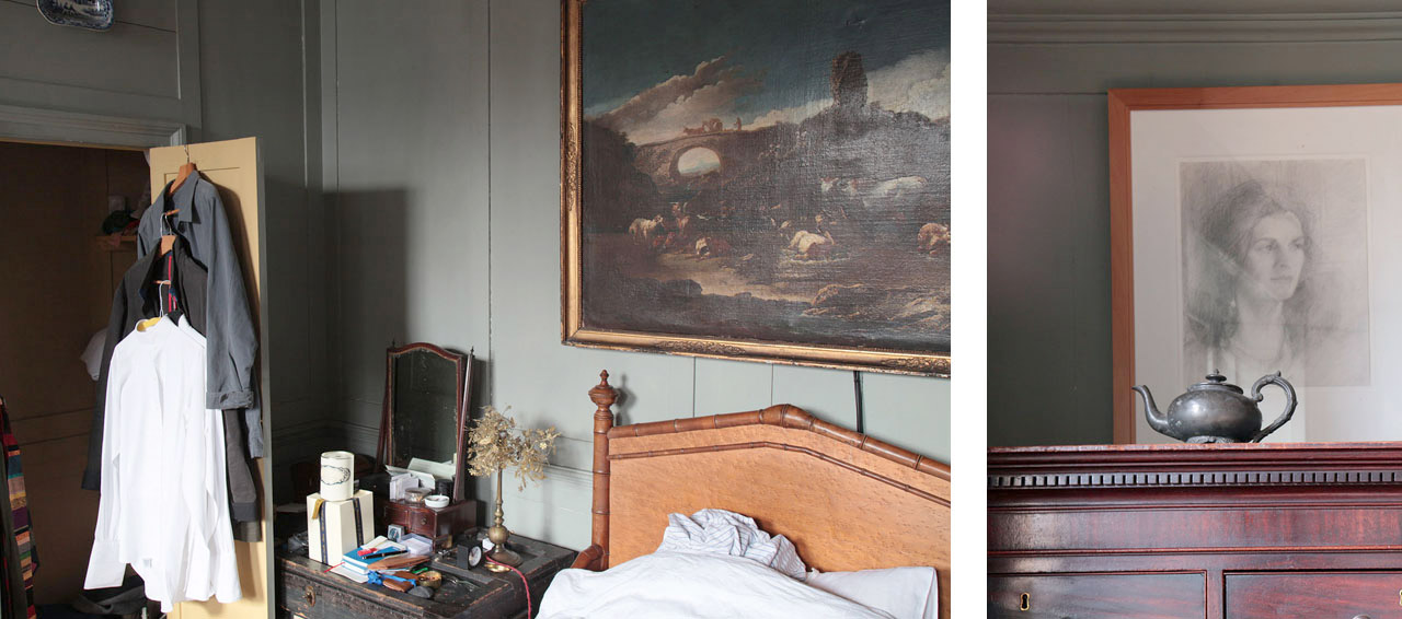 On the left two views of the pigeon bedroom, including Charlotte Verity and Romilly Saumarez Smith