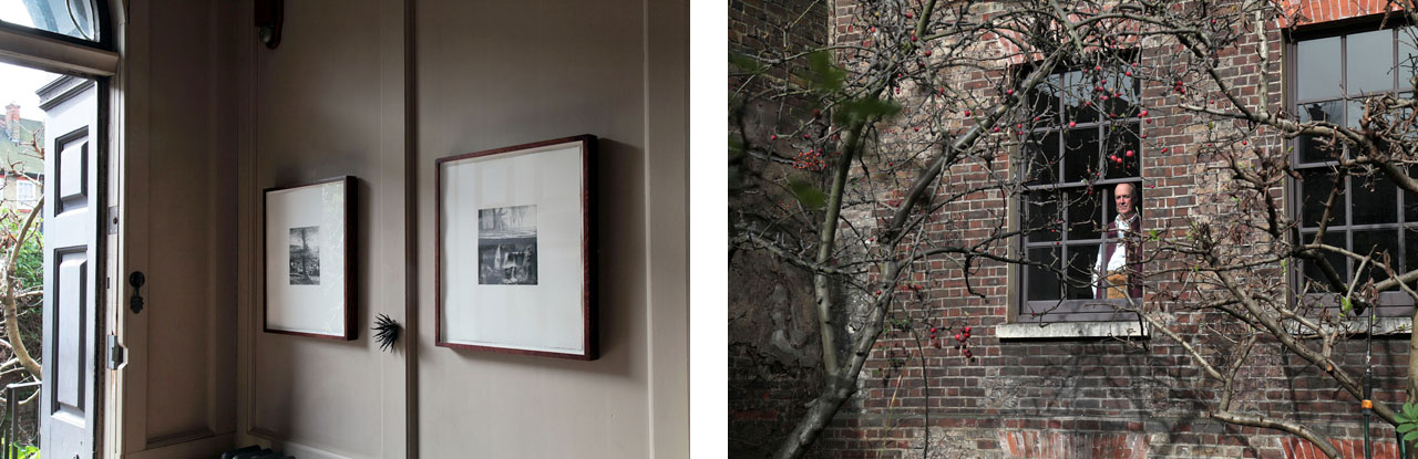 on the left two prints by Christopher Le Brun RA and metalwork by Junko Mori and on the right Charles looking out of the dining room window