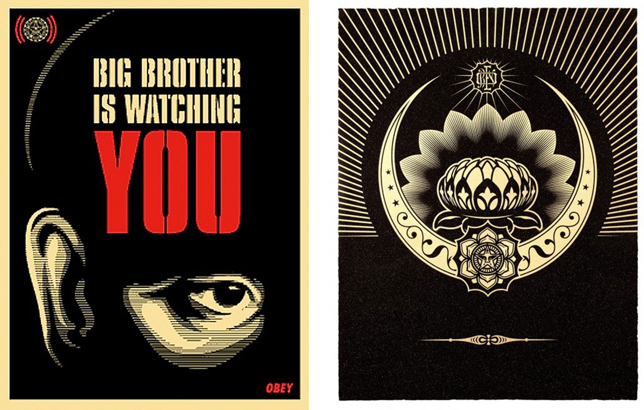 On the left Shepard Fairey, Big Brother Is Watching You, 2006 and on the right Shepard Fairey, Obey Lotus Diamond (Black & Gold), 2013