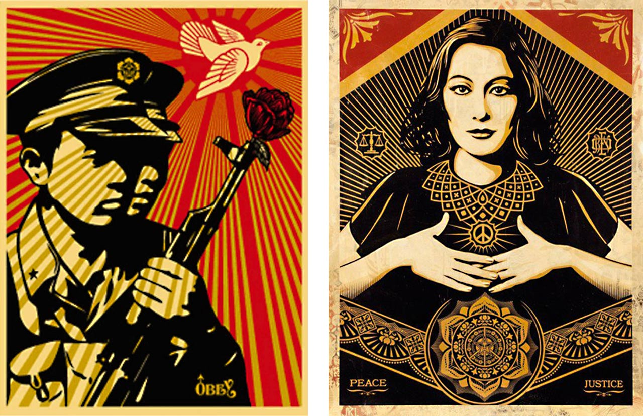 On the left Shepard Fairey, Chinese Soldiers, 2006 and on the right Peace & Justice Woman , 2013