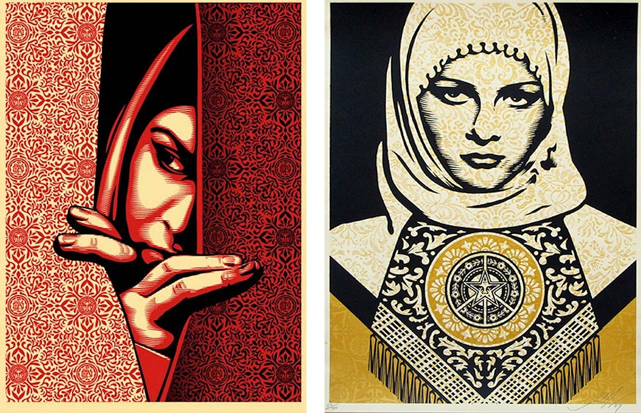 On the left Shepard Fairey, Israel / Palestine, 2009 and on the right Shepard Fairey, Art Arab Woman (Gold), 2008
