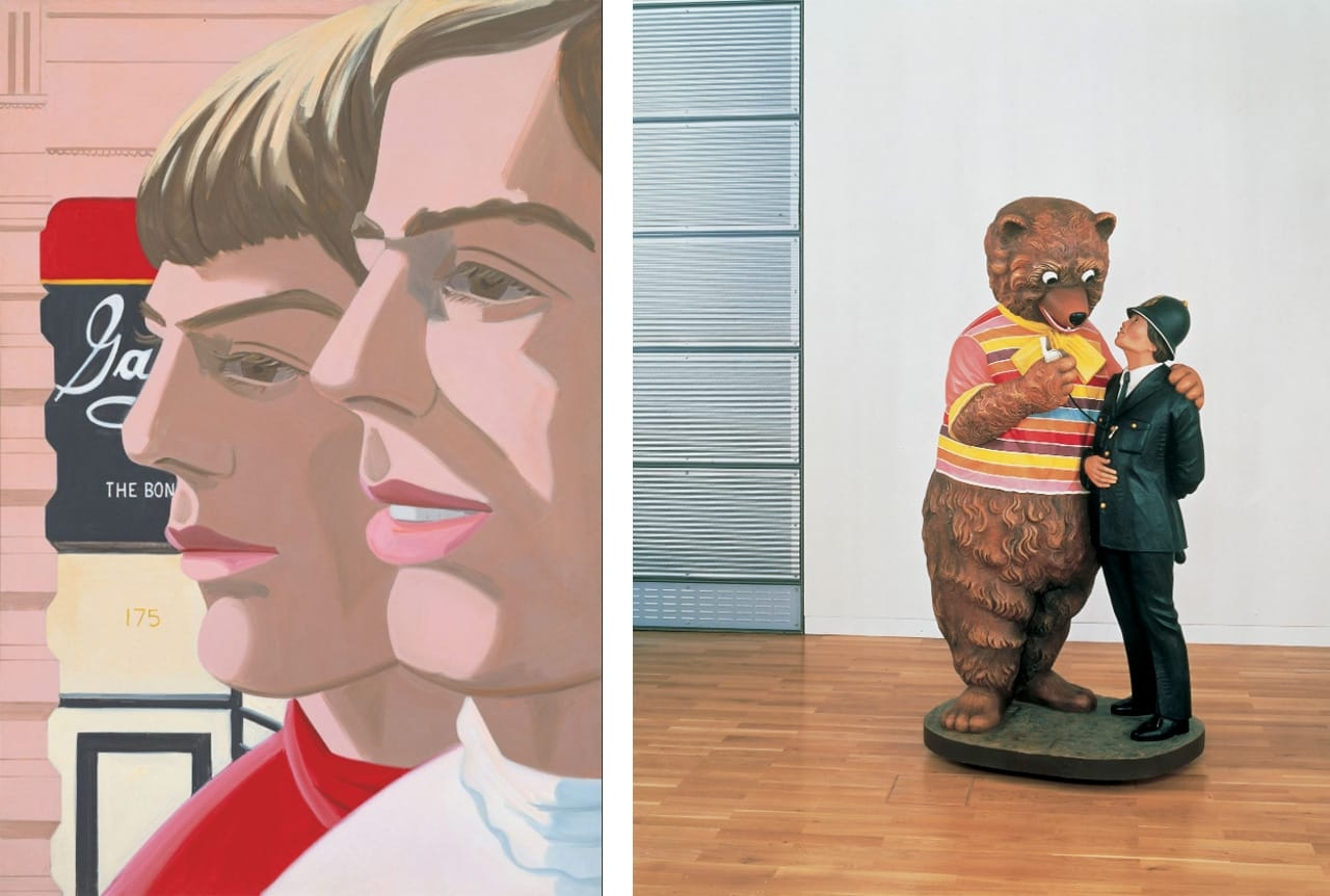 On the left Alex Katz, Scott and John, 1966 and on the right Jeff Koons, Bear and Policeman