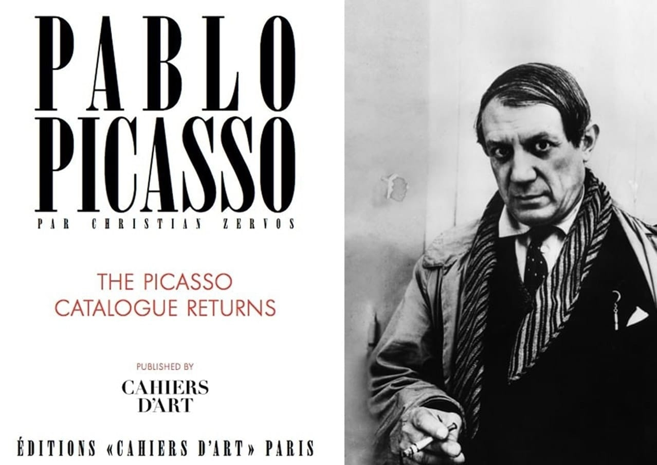 Left: Inside cover of the 2013 Reprint of the Zervos catalogue raisonné. Right: Pablo Picasso. Both Courtesy of Cahiers d'Art